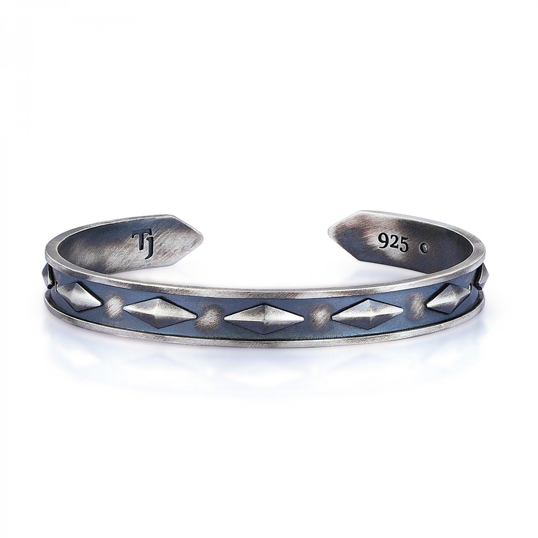Oxidised Silver Cubic Snake Cuff - 9,00mm