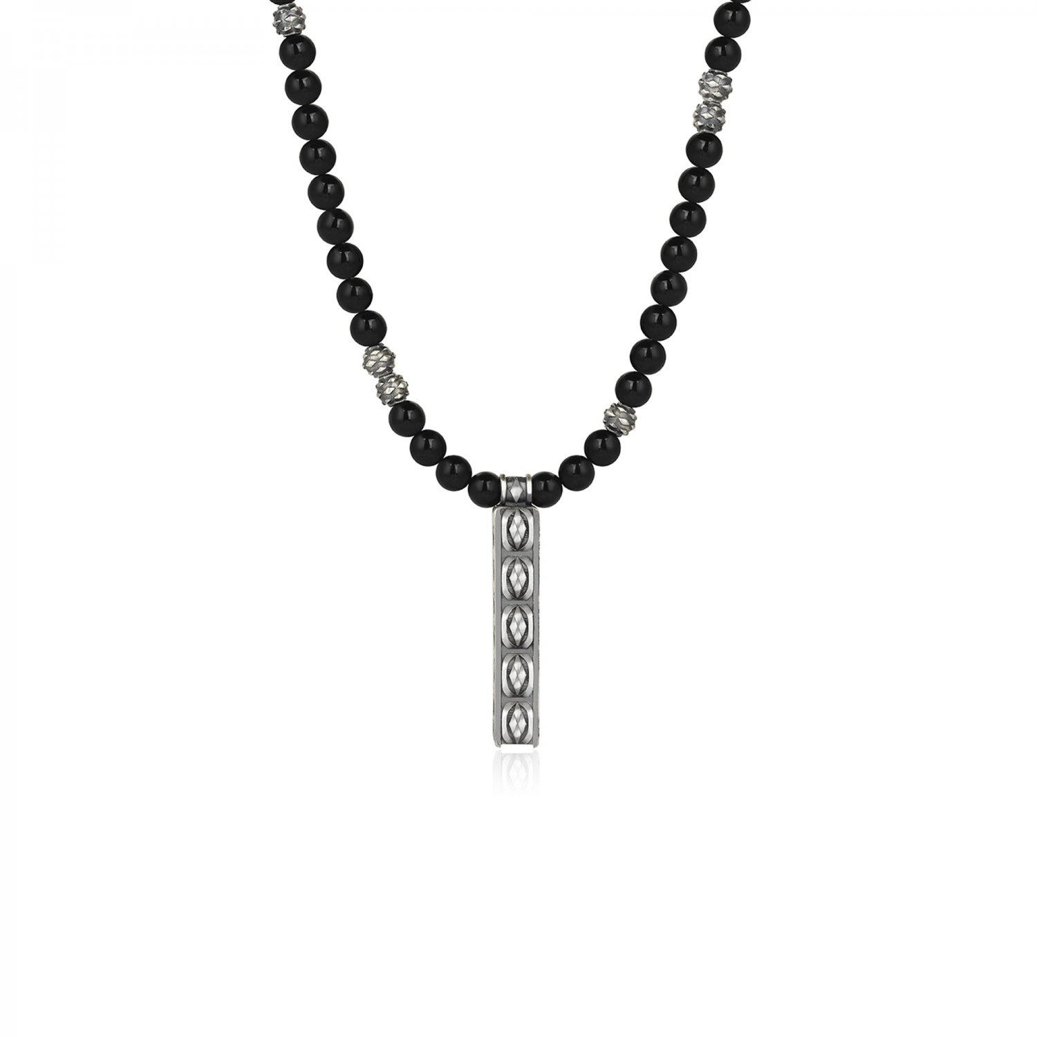 Oxidised Silver Cubic Snake Black Onyx Bead Necklace