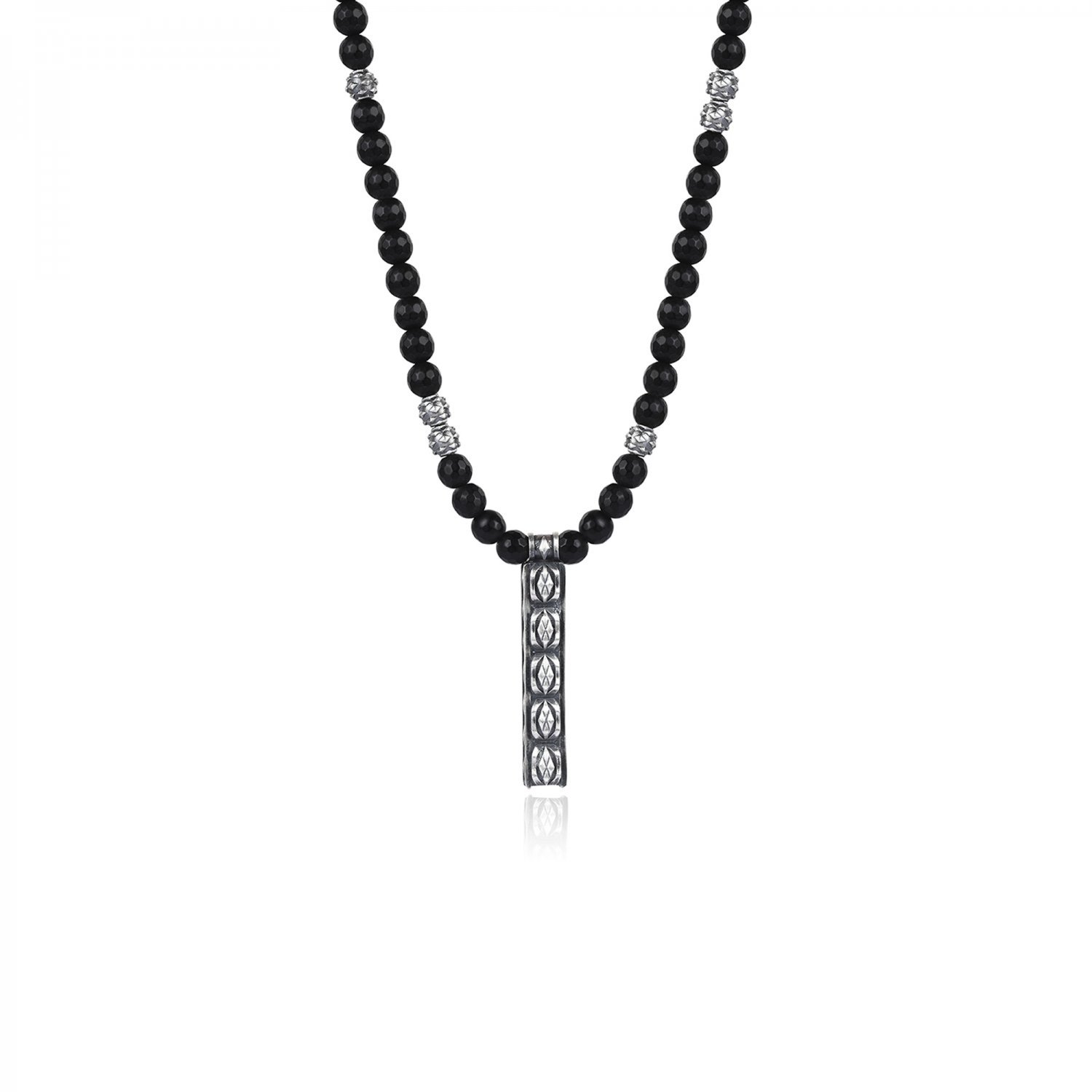Oxidised Silver Cubic Snake Faceted Black Onyx Bead Necklace