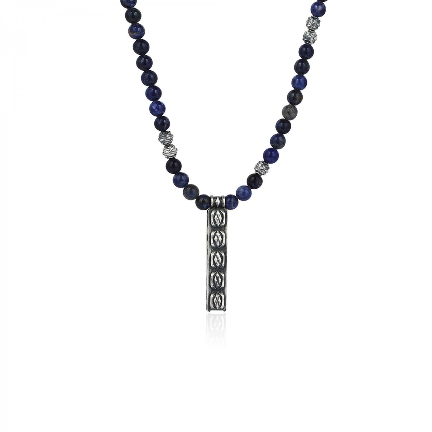 Cubic Style Beads Necklace with Bolivian Sodalite