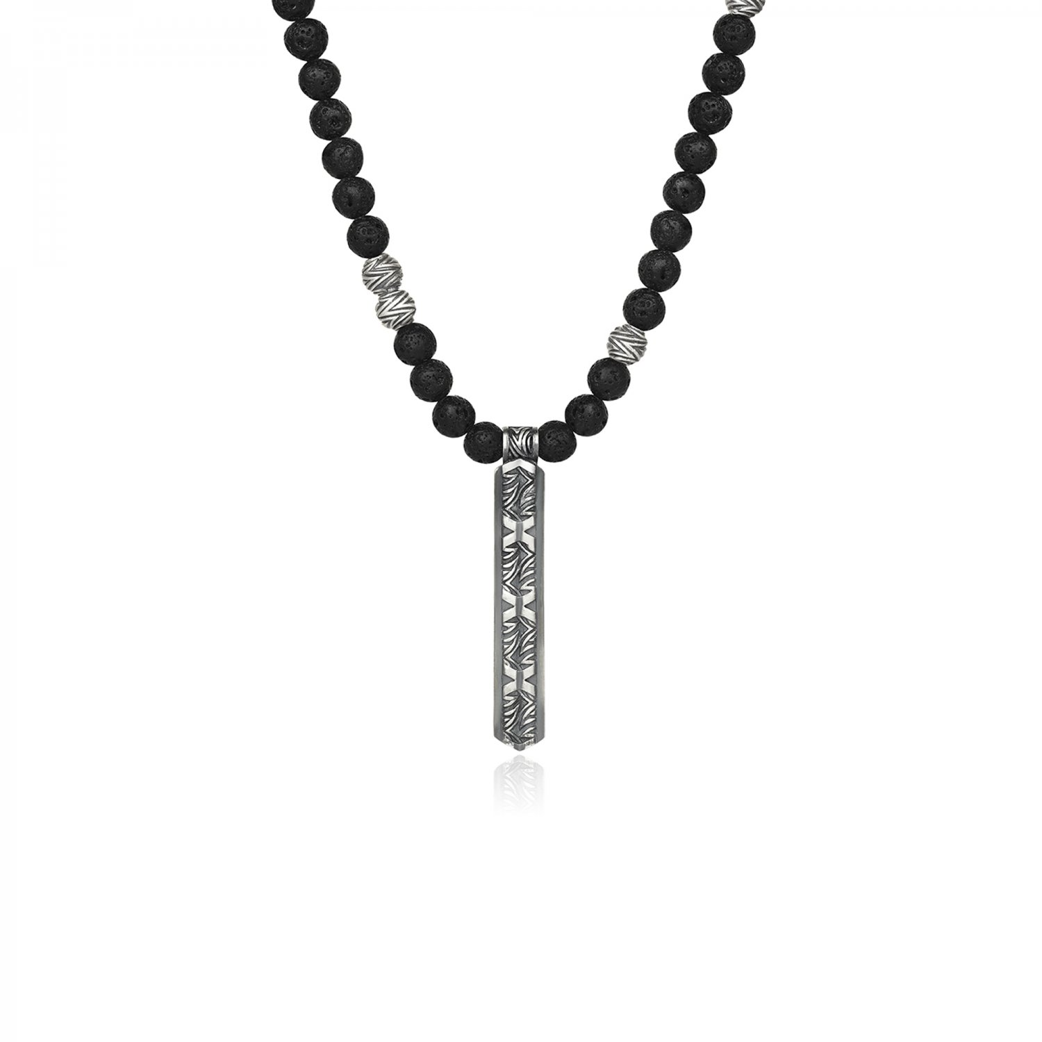 Oxidised Silver Serpi Lava Beads Necklace