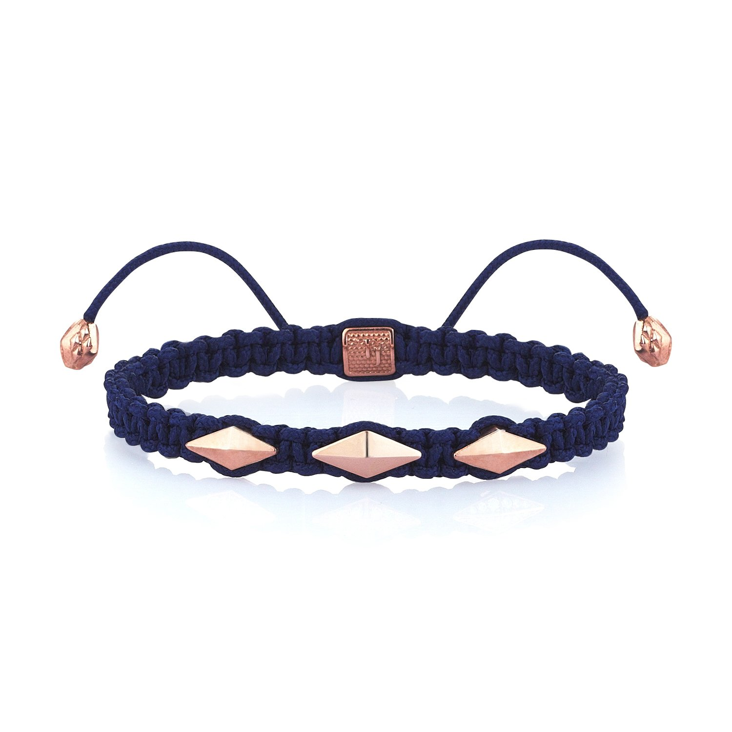 Blue Macrame Iconic Diamondback (3) Bracelet in 18K Gold