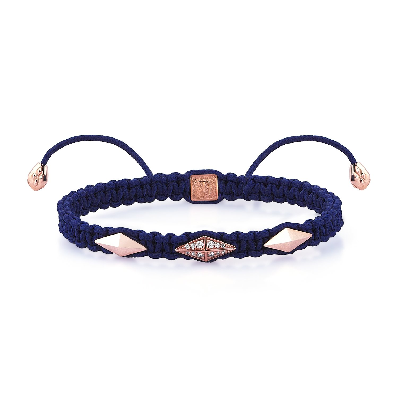 Blue Macrame Iconic Diamondback (3) Bracelet in 18K Gold with Diamonds