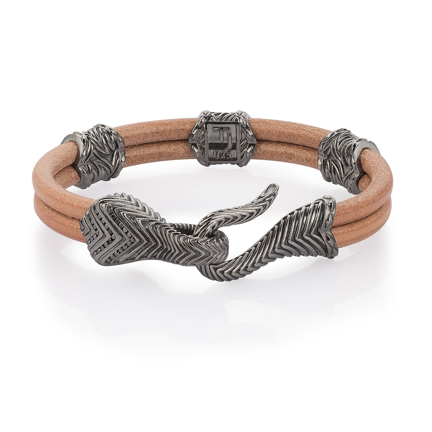Beige Natural Leather Serpi Bracelet in 18K Gold with Black Diamonds