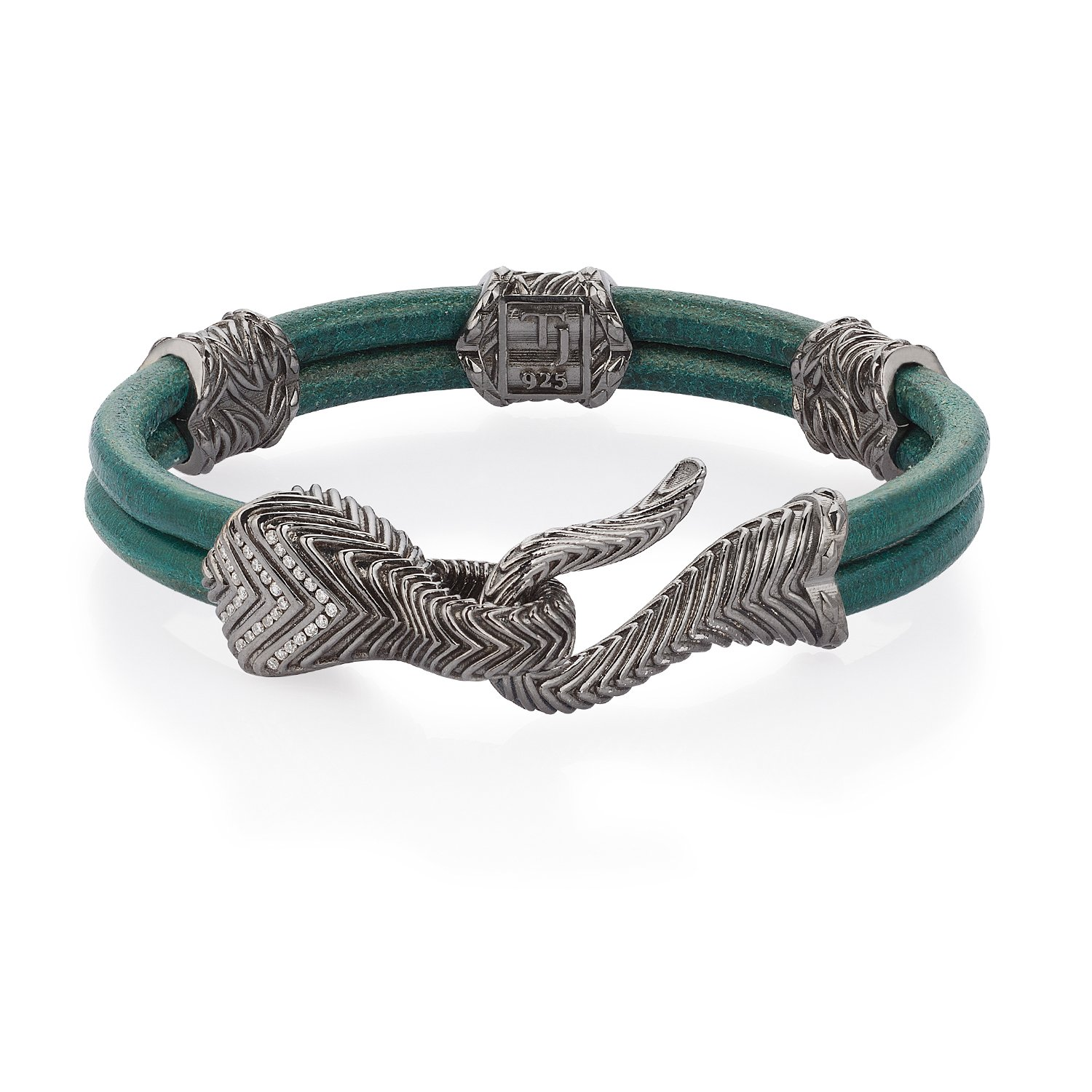 Turquoise Natural Leather Serpi Bracelet in 18K Gold with Diamonds