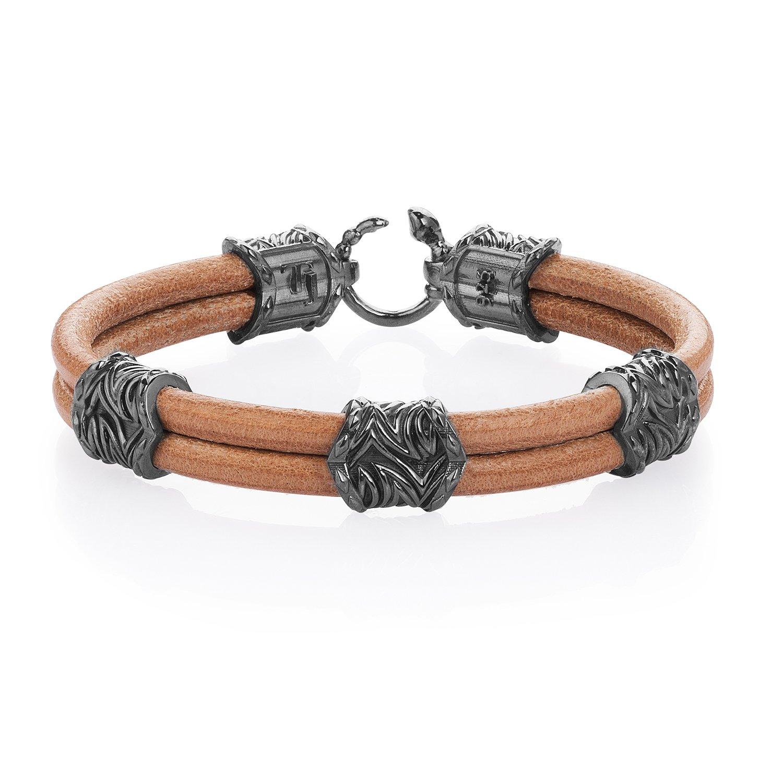 Beige Natural Leather Serpi Style Bracelet in 18K Gold