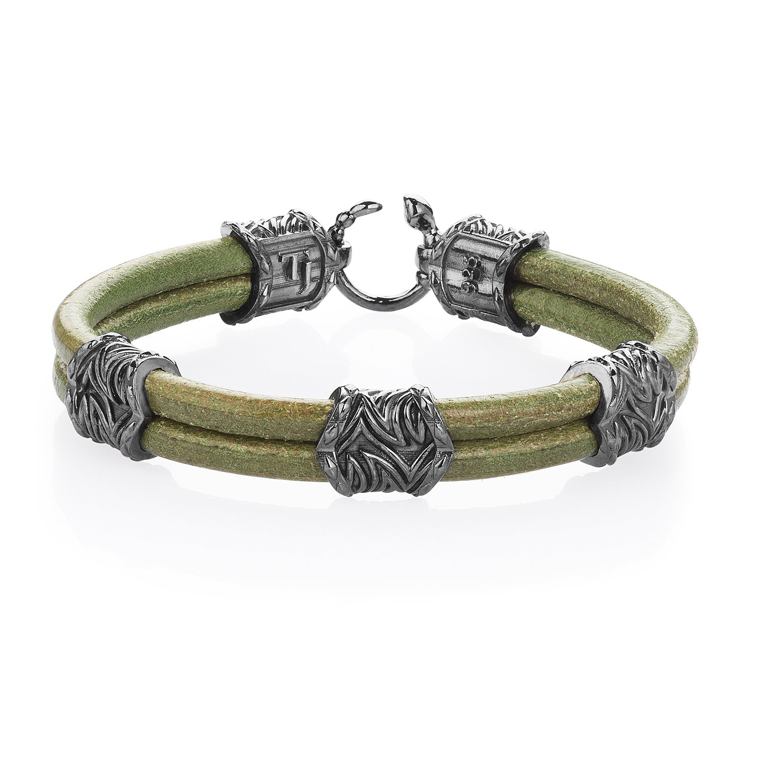 Green Natural Leather Serpi Style Bracelet in 18K Gold