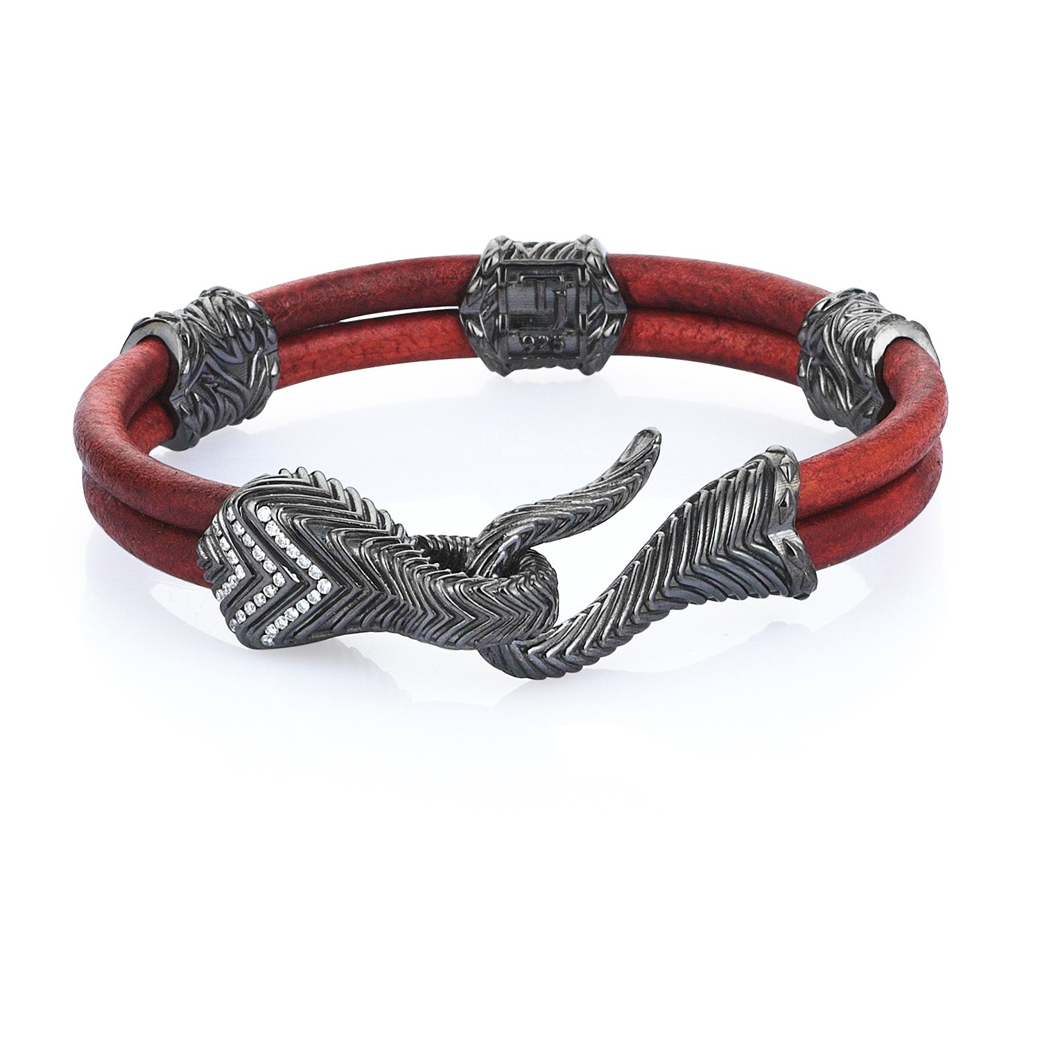 Maroon Natural Leather Serpi Bracelet in 18K Gold with Diamonds
