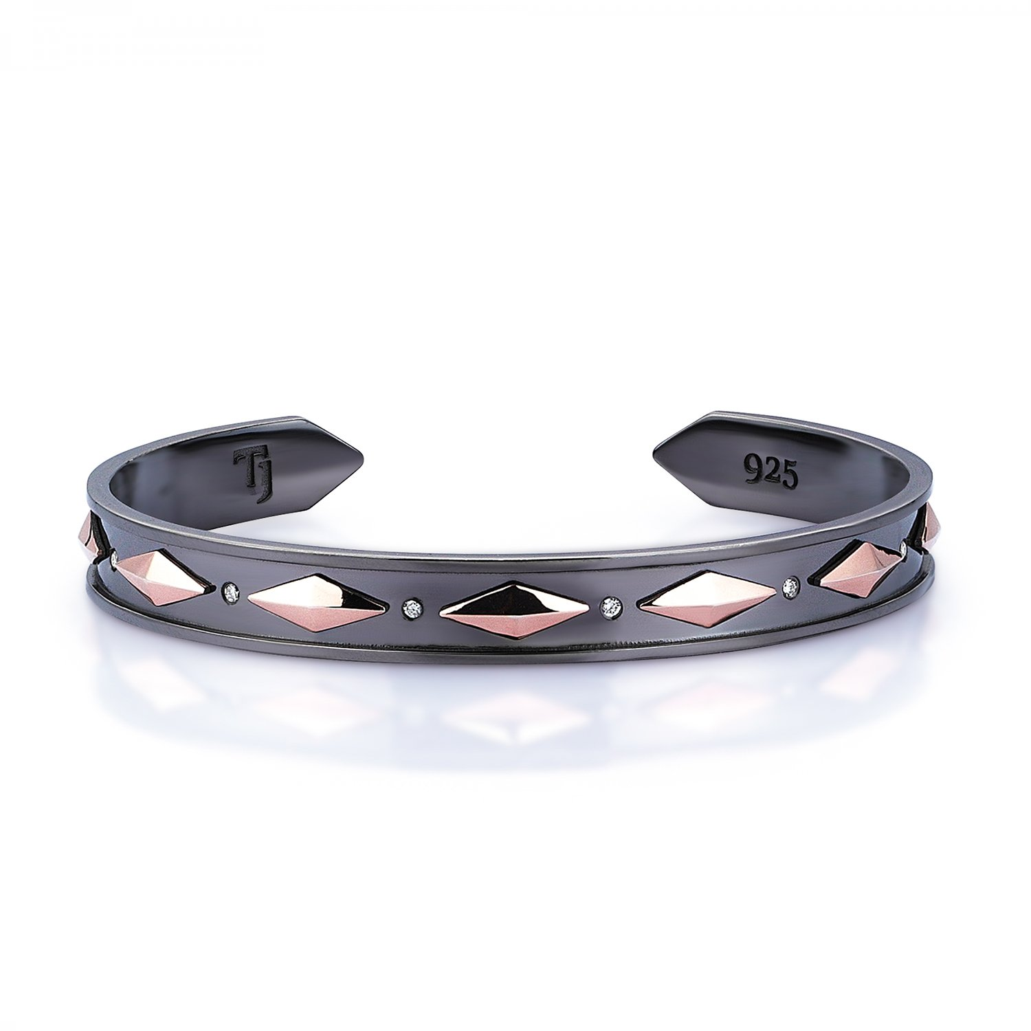 18K Gold Cubic Snake Cuff in Black and Rose w/ Diamonds - 9,00mm
