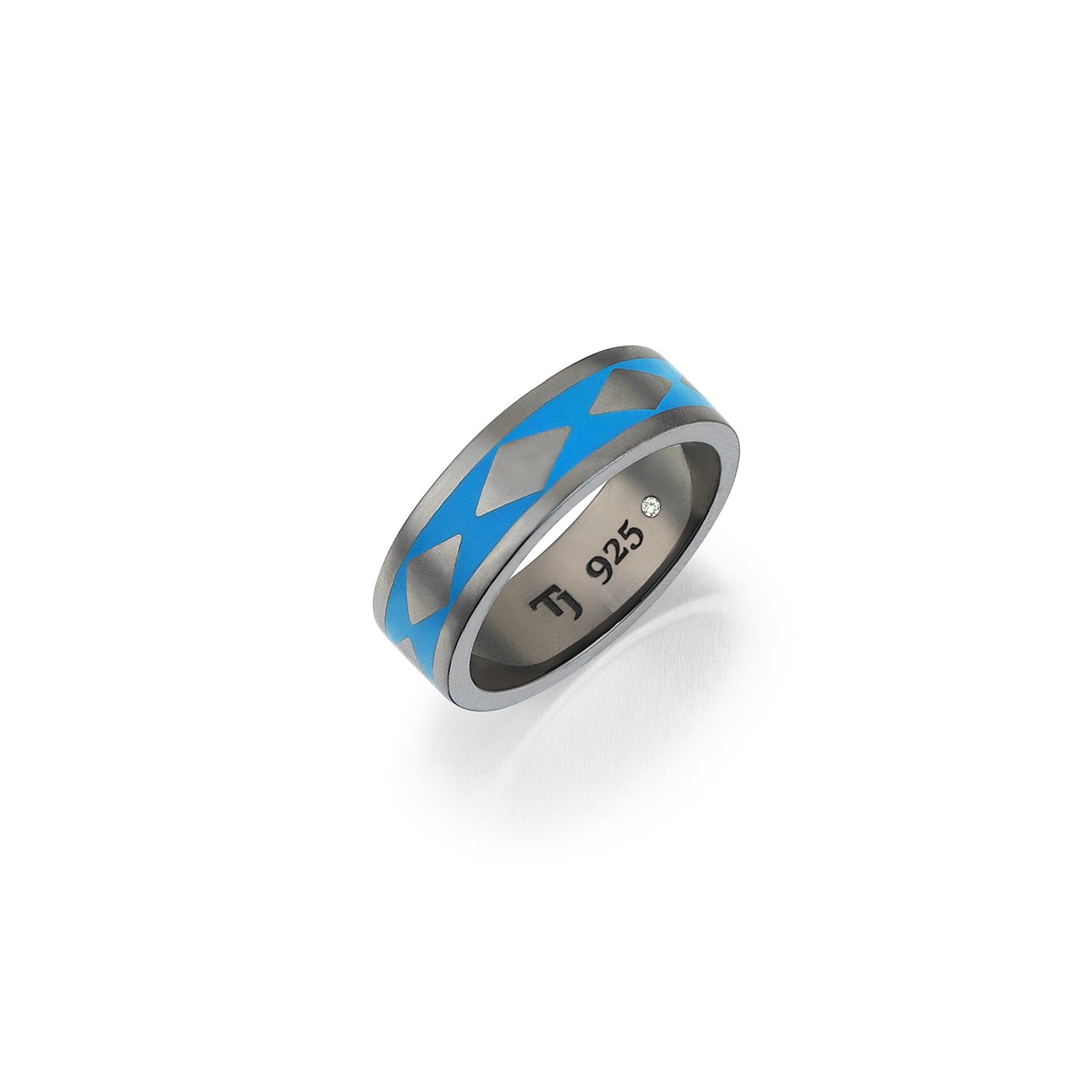 Cubic Snake Band in 18K Gold - 7,70mm - Blue Enamel