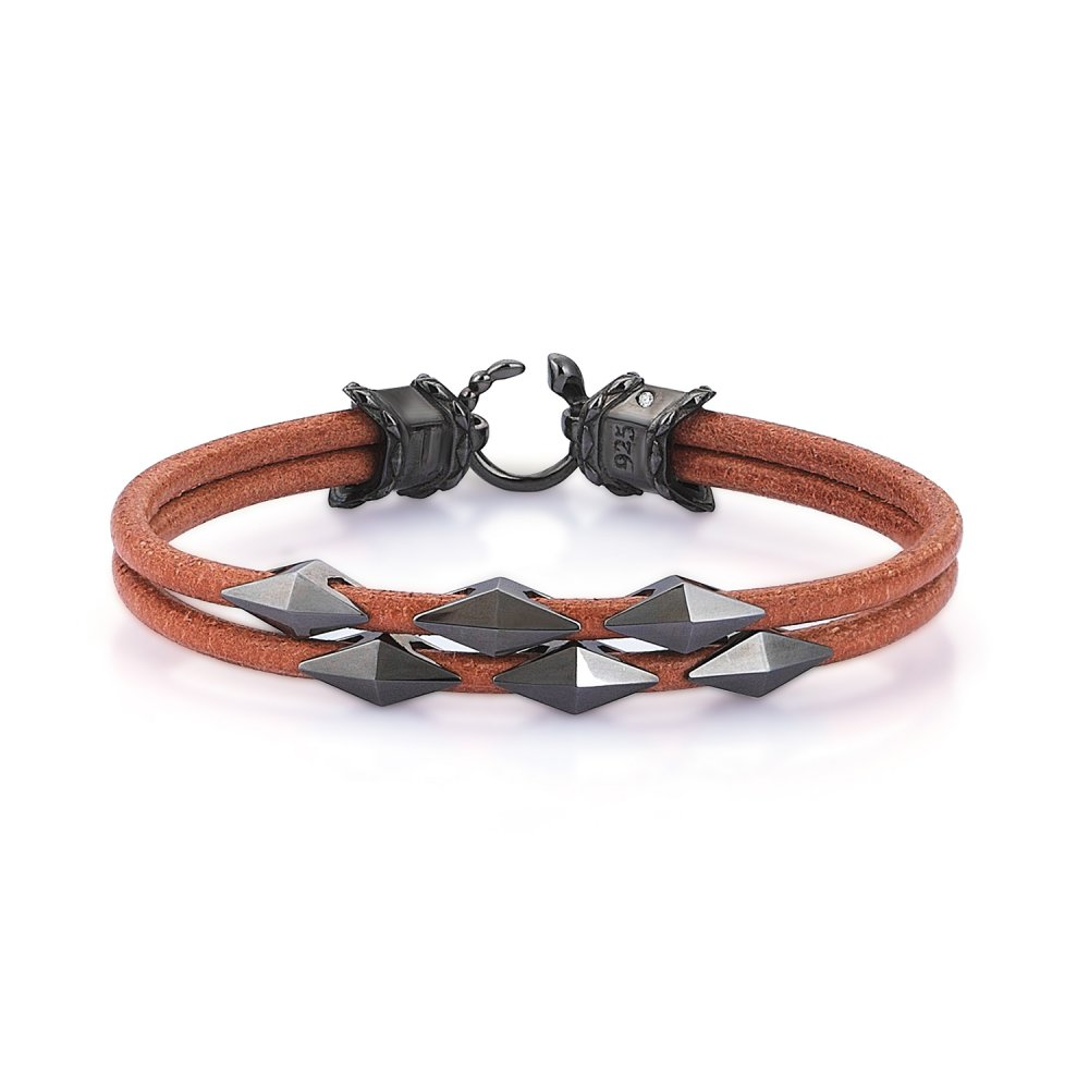 Double Lap Beige Natural Leather Iconic Diamondback Silver Bracelet in Black Rhodium w/ Snake Lock