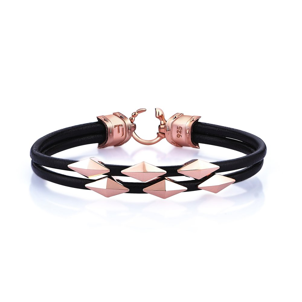 Double Lap Black Natural Leather Iconic Diamondback Silver Bracelet in Rose w/ Snake Lock