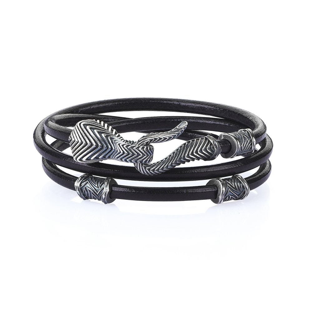 Double Lap Oxidised Silver Serpi Bracelet in Black Natural Leather