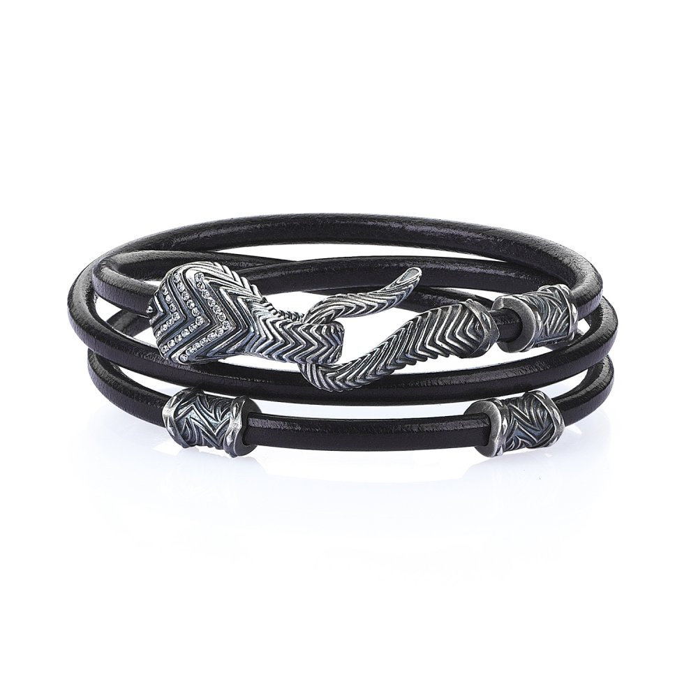 Double Lap Oxidised Silver Serpi Bracelet in Black Natural Leather w/ Diamonds