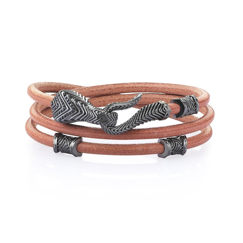 Double Lap Sterling Silver Serpi Bracelet in Beige Natural Leather w/ Black Diamonds
