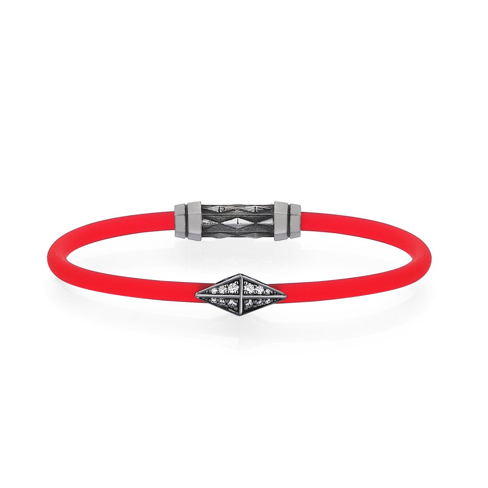 Red Rubber Silver Diamondback Bracelet in Black Rhodium with Diamonds - for him