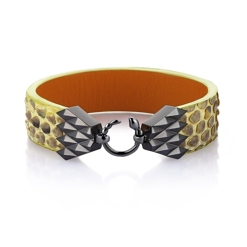 Cubic Snake Sterling Silver Bracelet in Black w/  Yellow Python Leather