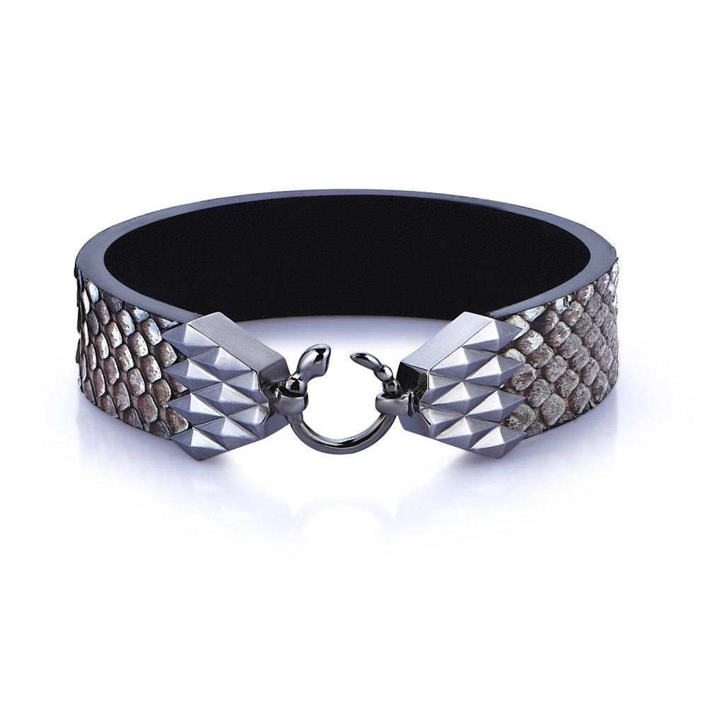 Cubic Snake Sterling Silver Bracelet in Black w/ Gray Python Leather