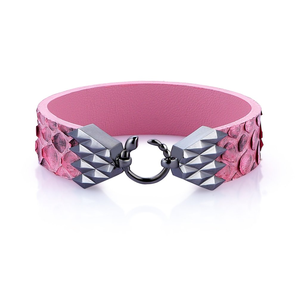 Cubic Snake Sterling Silver Bracelet in Black w/ Pink Python Leather
