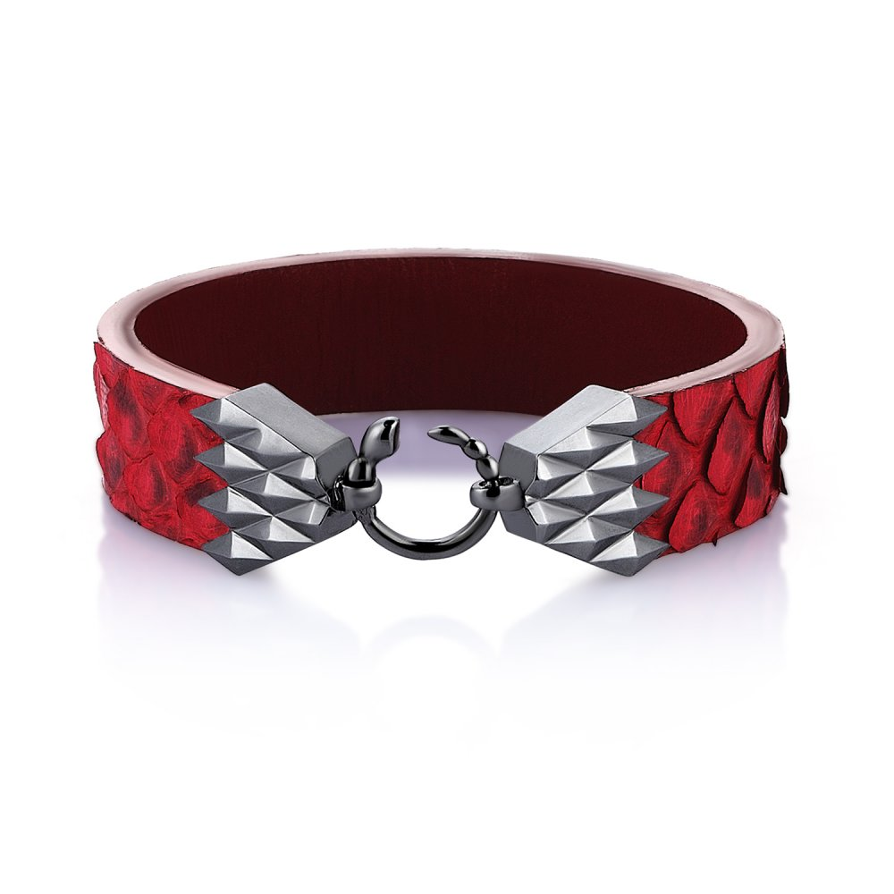 Cubic Snake Sterling Silver Bracelet in Black w/ Red Python Leather