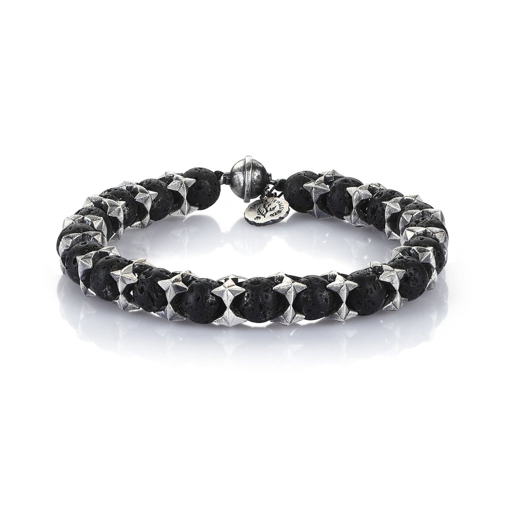 Oxidised Silver Cubic Cage Bracelet with Lava Beads, 8.00mm
