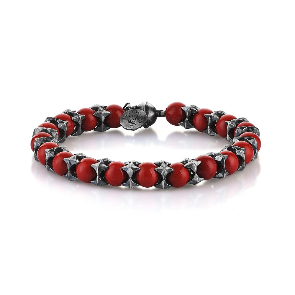 Oxidised Silver Cubic Cage Bracelet with Red Jasper Beads, 8.00mm