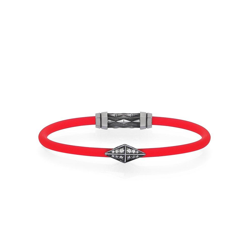 Red Rubber Silver Diamondback Bracelet in Black Rhodium with Diamonds - for her