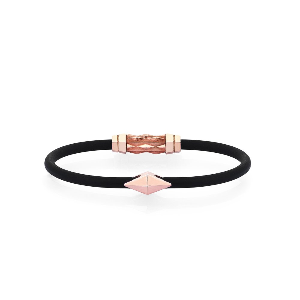 Black Rubber Silver Diamondback Bracelet in Rose - for her