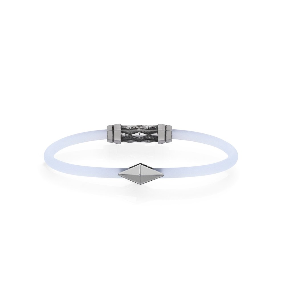 Frosted White Rubber Silver Diamondback Bracelet in Black Rhodium - for her