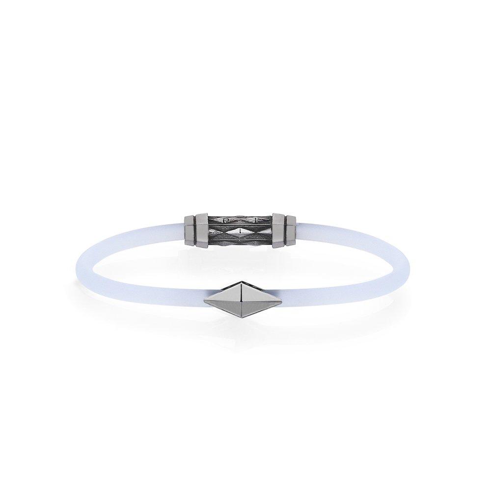 Frosted White Rubber Silver Diamondback Bracelet in Black Rhodium - for her