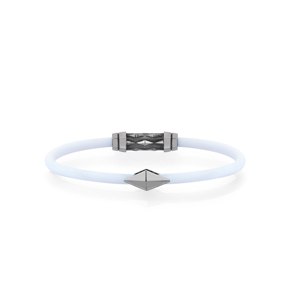 White Rubber Silver Diamondback Bracelet in Black Rhodium - for her