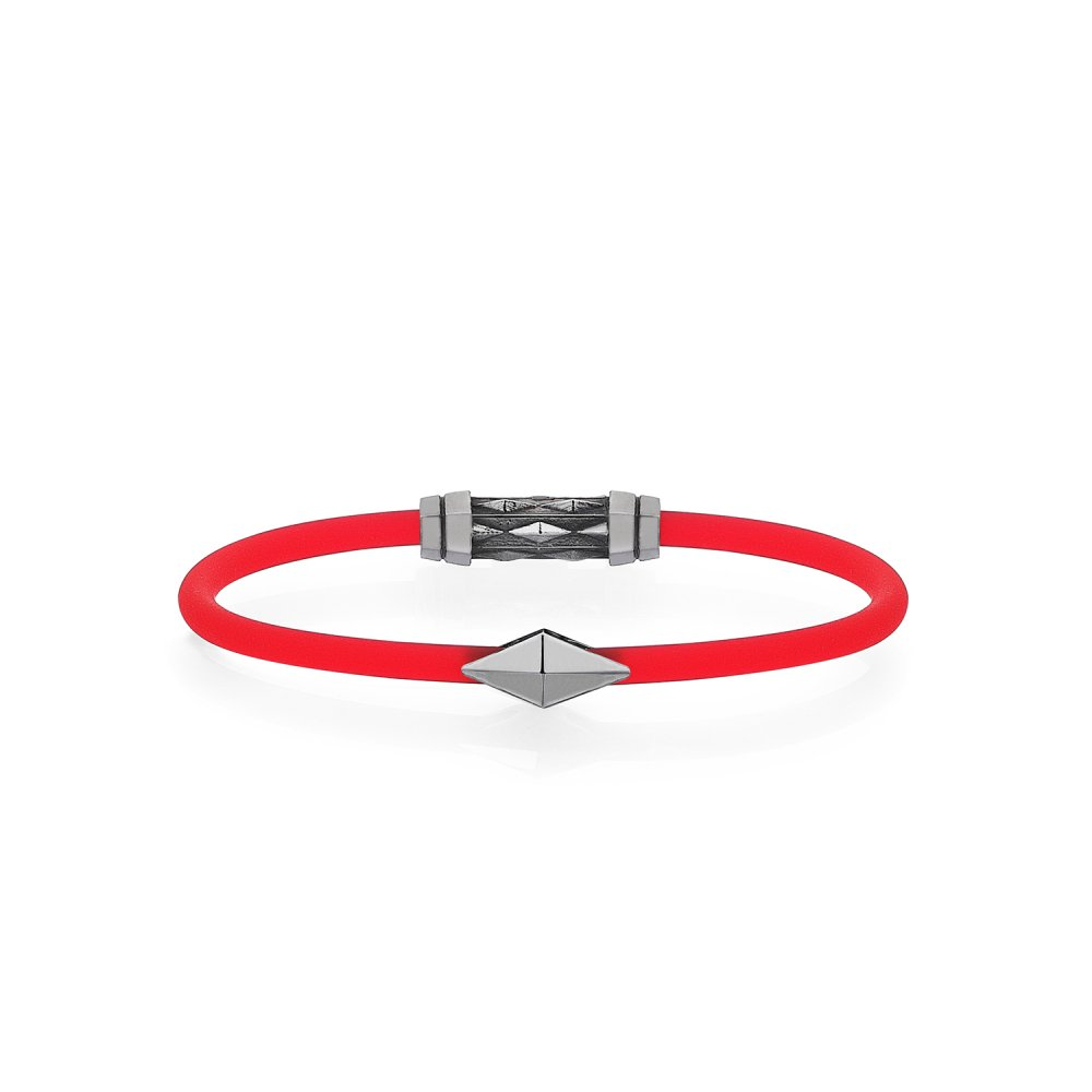 Red Rubber Silver Diamondback Bracelet in Black Rhodium - for her