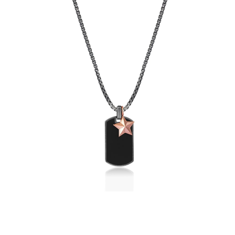 Oxidised Silver Chain & Black Enamel Name Tag Pendant, w/ Military Rank Charm in Rose