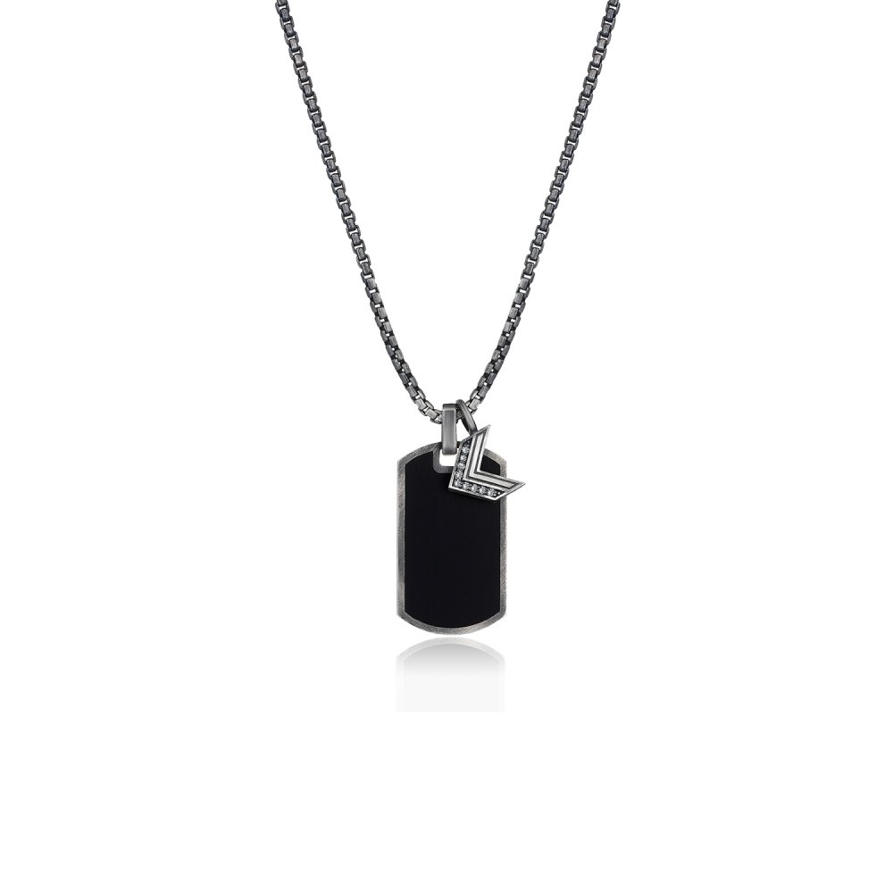 Oxidised Silver Chain & Black Enamel Name Tag Pendant, w/ Diamond Sergeant Rank Charm