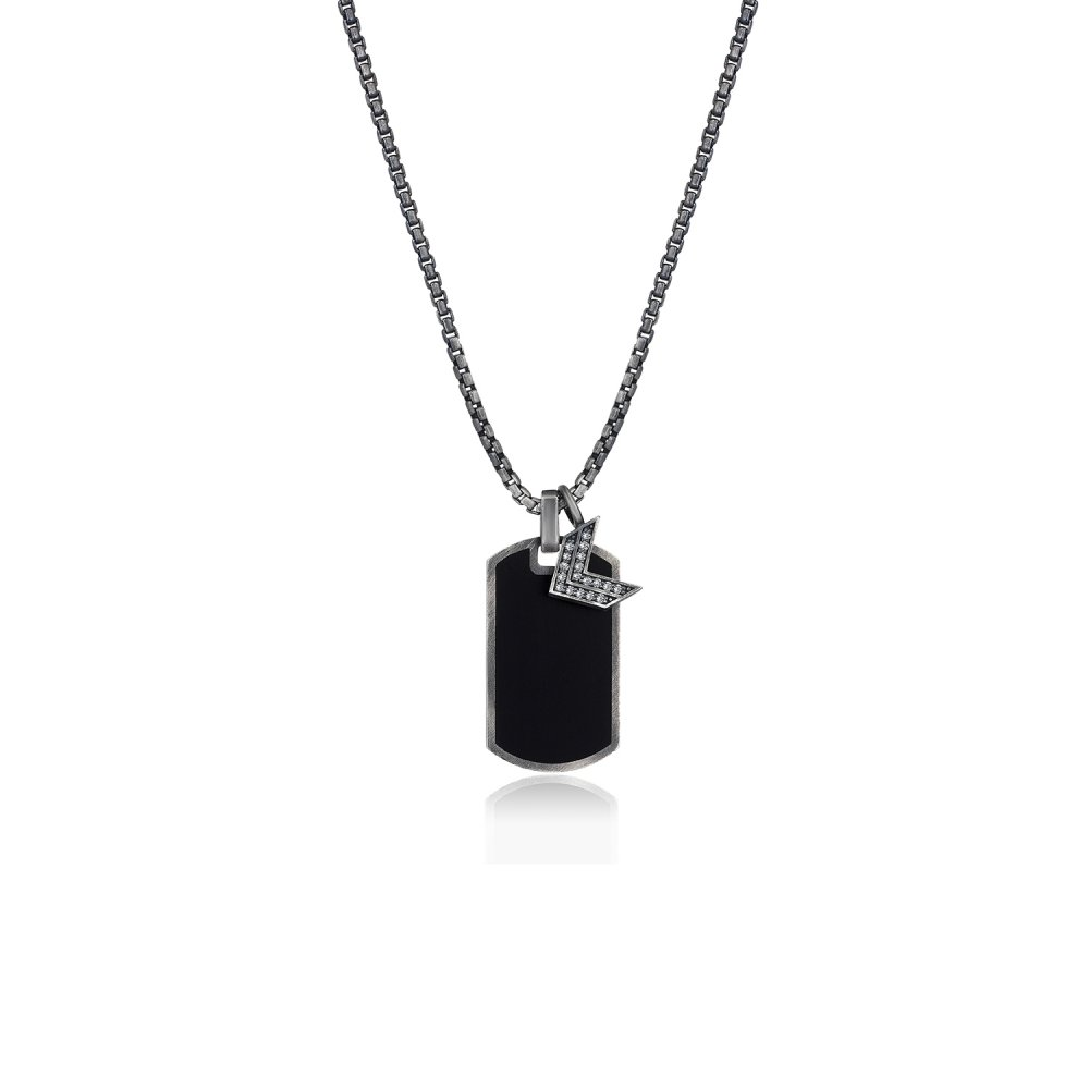 Oxidised Silver Chain & Black Enamel Name Tag Pendant, w/ Full Diamond Sergeant Rank Charm