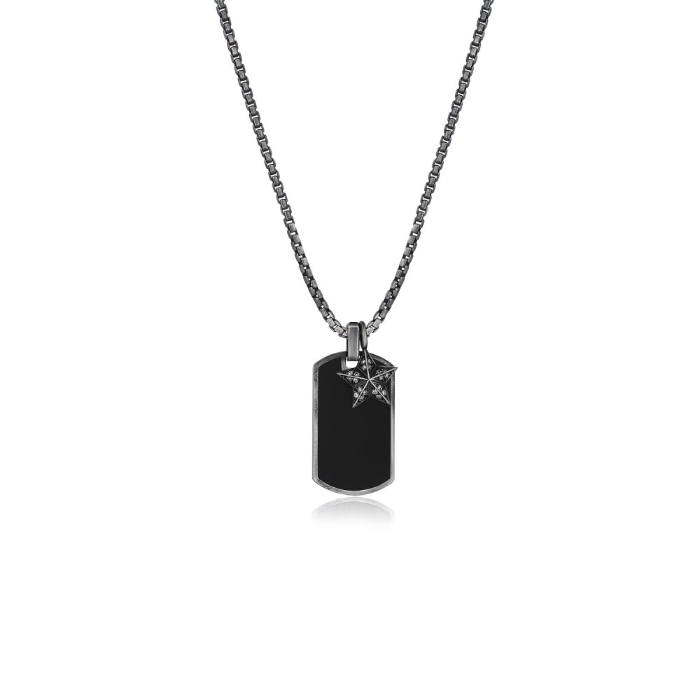 Oxidised Silver Chain & Black Enamel Name Tag Pendant, w/ Diamond Military Rank Charm