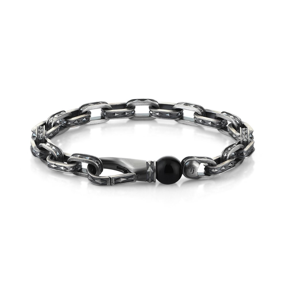 Oxidised Silver Cubic Chain Bracelet with Black Onyx Bead, 10.00mm