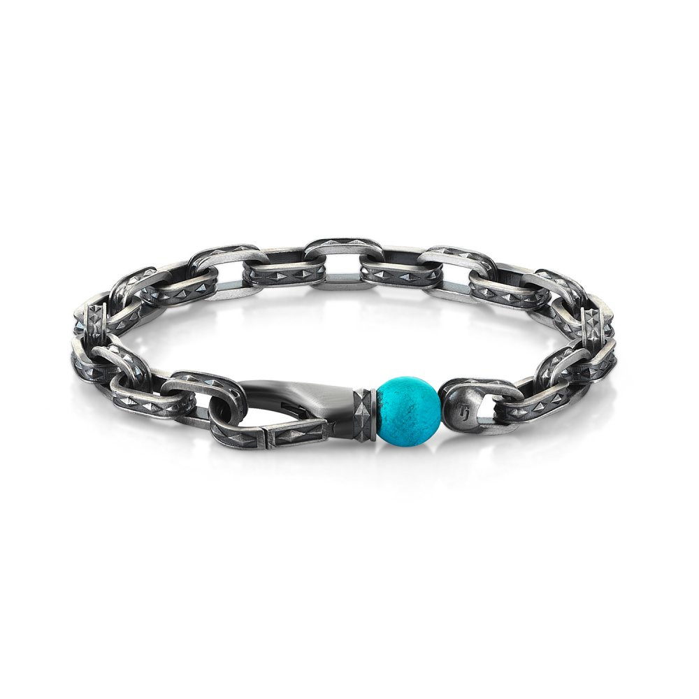 Oxidised Silver Cubic Chain Bracelet with Turquoise Bead, 10.00mm