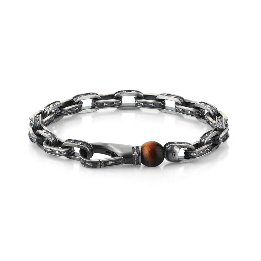 Cubic Style Chain Bracelet w/ Tiger Eye Bead, 10.00mm
