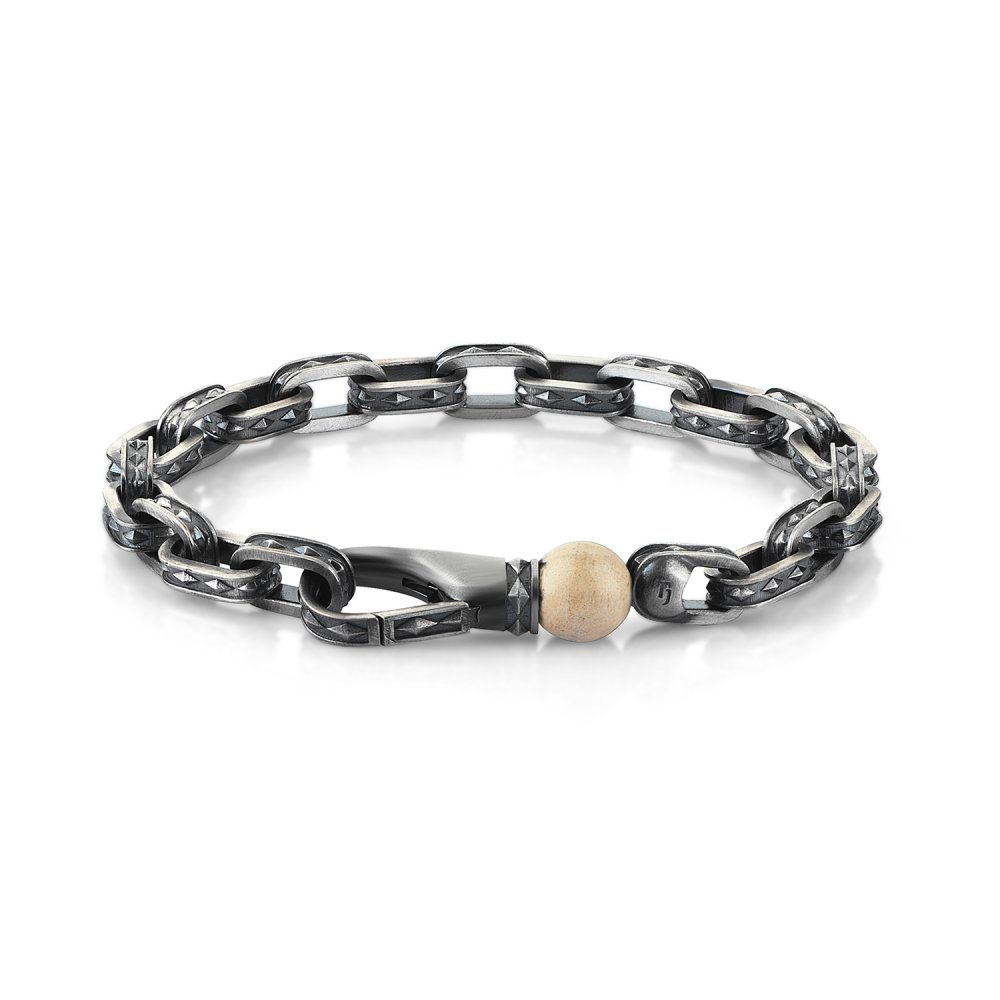 Oxidised Silver Cubic Chain Bracelet with River Stone Bead, 10.00mm