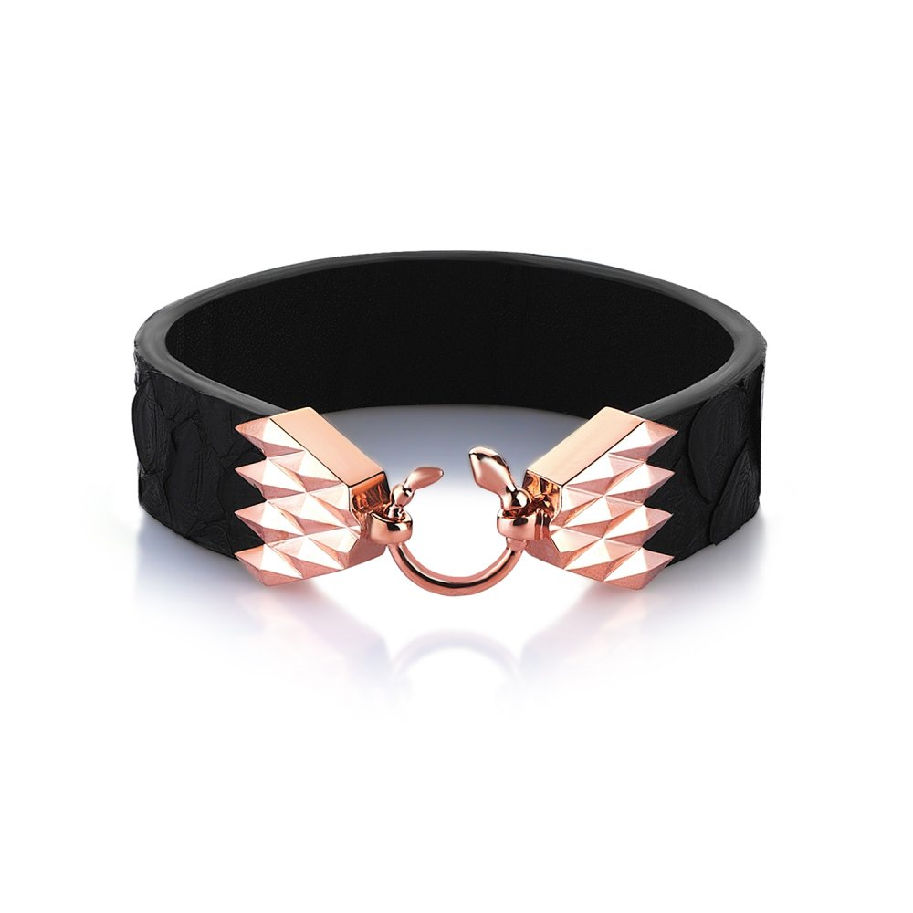 Cubic Snake Sterling Silver Bracelet in Rose w/ Black Python Leather