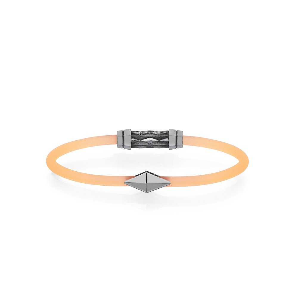 Orange Rubber Diamondback Bracelet in 18K Gold, Black Rhodium - for him