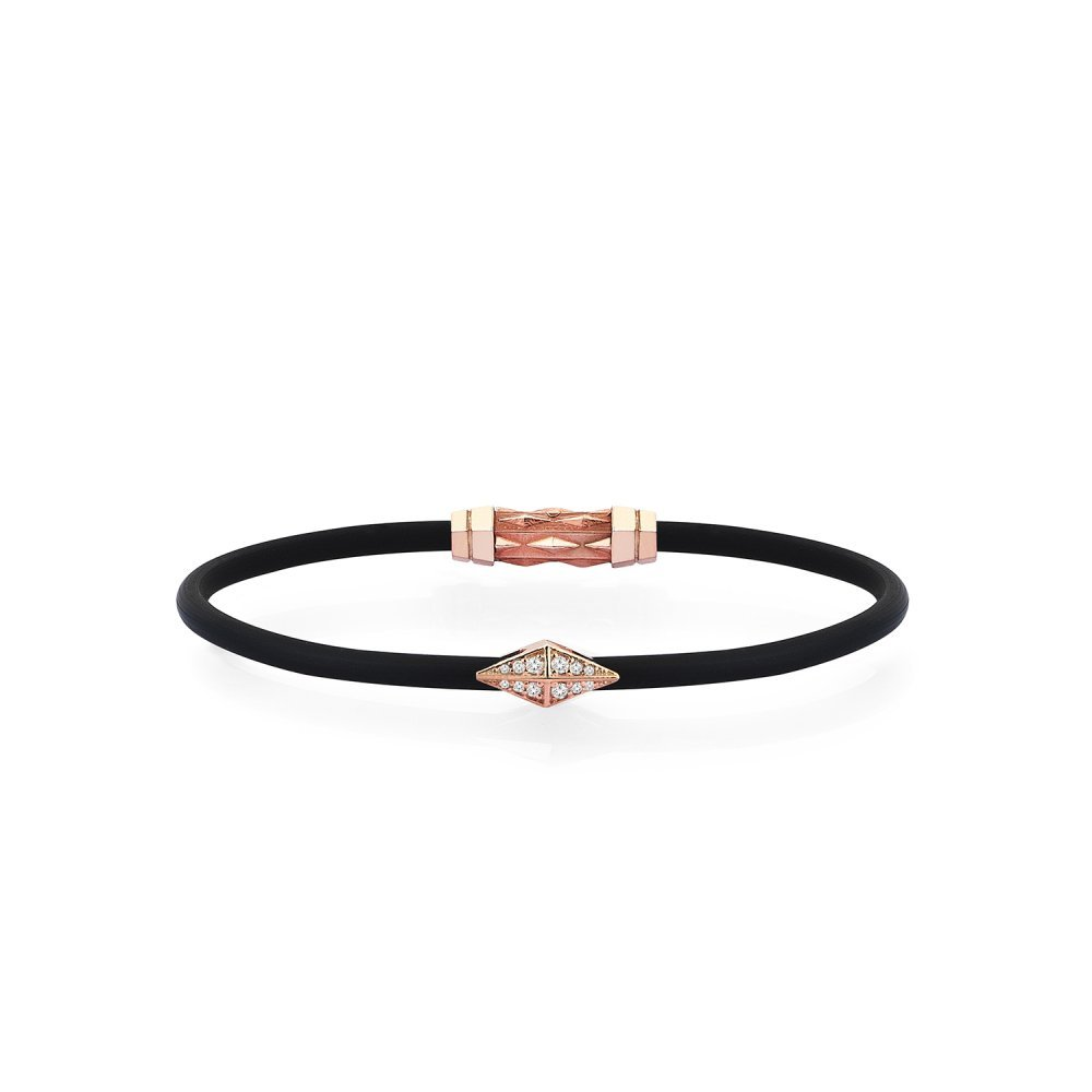Black Rubber Silver Diamondback Bracelet in Rose with Diamonds - for him