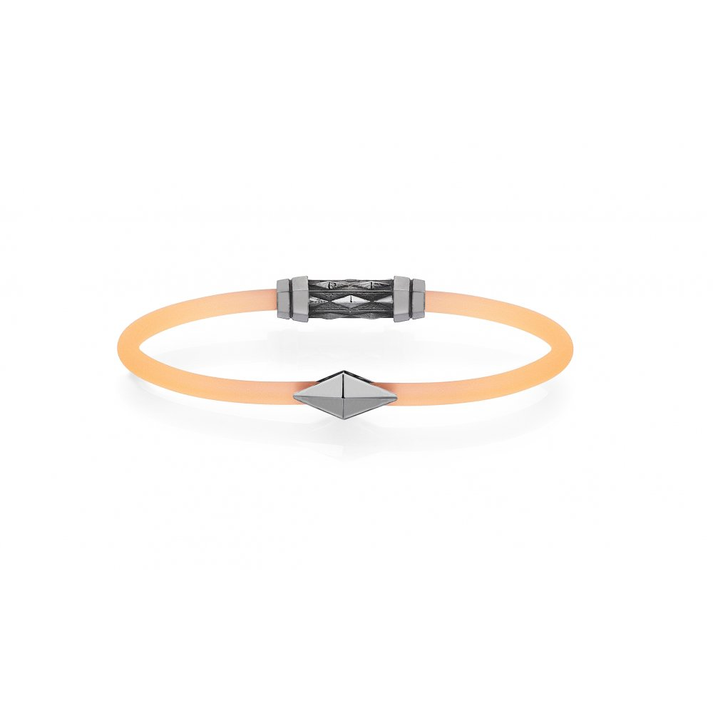 Orange Rubber 18K Gold Iconic Diamondback Bracelet in Black - for him