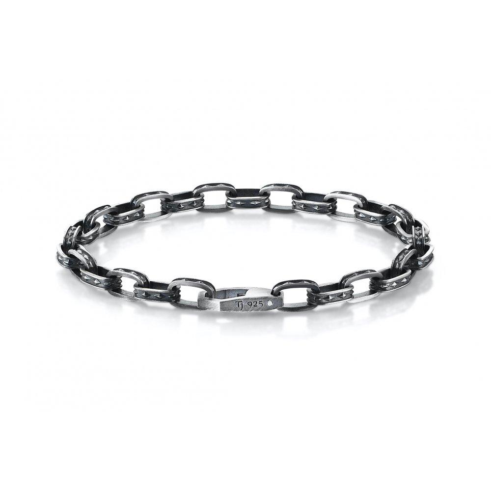 Oxidised Silver Cubic Chain Bracelet